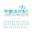 modern seaside landscape font paper cut out abc vector image vector image