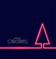 neon christmas tree on dark blue background vector image vector image