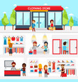 people shopping in clothing store shop vector image vector image