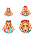 pop art avatar of shocked surprised blonde vector image vector image