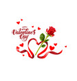 red rose and ribbon vector image vector image