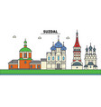 russia suzdal city skyline architecture vector image
