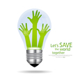 Save the world Light bulb with hands inside vector image vector image
