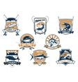 Sea and river fish and rods isolated icons vector image vector image