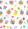seamless birthday pattern with cute colorful owls vector image
