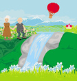 Senior couple walking in hills vector image vector image