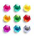 set cartoon hexagon different color crystals vector image vector image