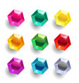 set of cartoon hexagon different color crystals vector image vector image