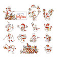 set of cute cartoon snowmen vector image vector image