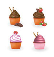 set of four cupcakes vector image vector image