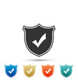 shield with check mark icon on white background vector image vector image