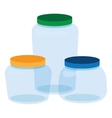 Three Glass Jars Bottles Empty Transparent vector image vector image