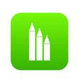 three pencils icon digital green vector image vector image