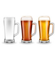 three transparent glass beer mugs vector image vector image
