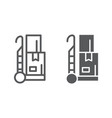 trolley line and glyph icon cargo and package vector image