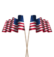 Two Flags USA Waving Wind vector image vector image