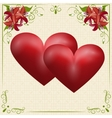 Two red hearts on a card in the box with the vector image vector image