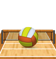 Volleyball on a Court and Net vector image vector image