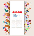 wall climbing kids sport children in sportive vector image