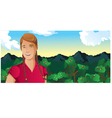 woman outdoors coffee field vector image vector image