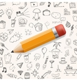 Yelow pencil with group of hand drawn icons vector image vector image