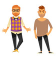 two stylish young men in casual clothes isolated vector image