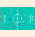 Top View Football Playground with Players Retro vector image