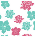 2 color hand drawn flower seamless pattern vector image