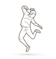 a man dancing action outline vector image vector image