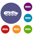 army battle tank icons set vector image vector image