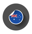 australia sticker with flag with long shadow vector image vector image