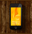 black smart phone template display with yellow vector image