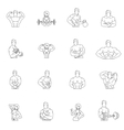 Bodybuilding fitness gym icons vector image vector image