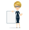 Business woman holding a poster vector image