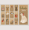 calendar 2018 cute monthly calendar with forest vector image vector image