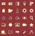 Camera color icons on red background vector image vector image