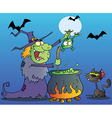 Cat Watching A Green Halloween Witch vector image