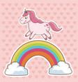 character unicorn rainbow cloud hearts background vector image vector image