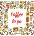 coffee seamless pattern flat line icons vector image vector image