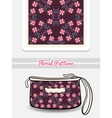 Cosmetic Bag With Pink Floral Ornament vector image vector image
