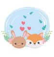 cute rabbit fox faces hearts leaves cartoon vector image vector image