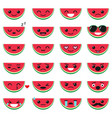 cute watermelon emoji set vector image vector image