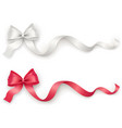 decorative red white bow with long ribbon vector image vector image