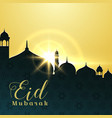 eid mubarak greeting card design with mosque and vector image vector image