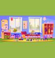 empty kindergarten classroom with toys furniture vector image
