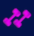 flat shading style icon dumbbells vector image vector image