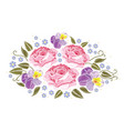 flowers roses and pansies isolated on white vector image