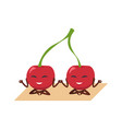 funny cherry yoga berries set on gymnastic mat vector image