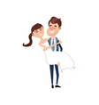 happy couple married and man carrying his wife vector image vector image