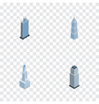 isometric building set of exterior tower vector image vector image